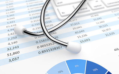 Stethoscope and medical financial statement