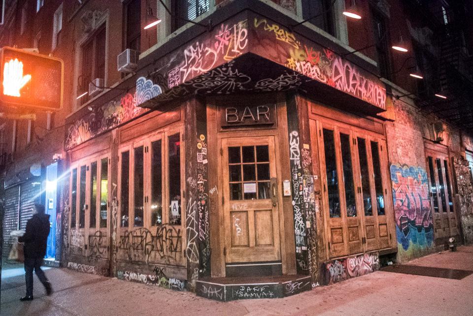 A shuttered bar in New York City during the coronavirus pandemic